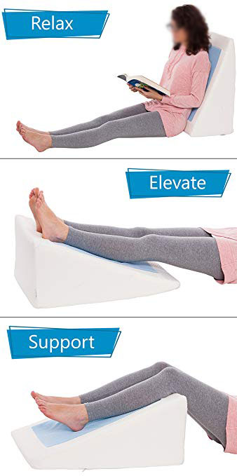 Bed Wedge Pillow Cooling Gel Memory Foam Top Elevated Support Cushion for Lower Back Pain Wedge Pillow