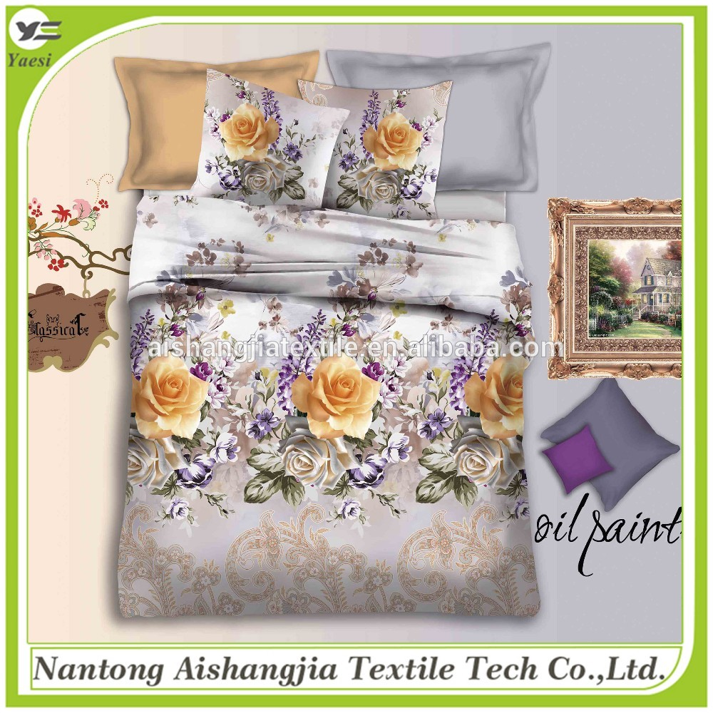 Customized Designs HD Digital Printed Luxury 40's Cotton Bed Comforter Set