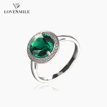 Top sale 044666CLR NANO green gemstone charming jewelry rings S925 silver ring