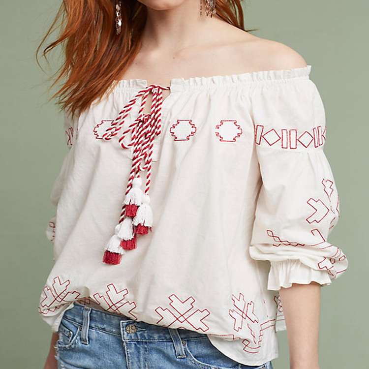 Off Shoulder Embroidered Blouse Thailand Ladies Wholesale Tunic Tops