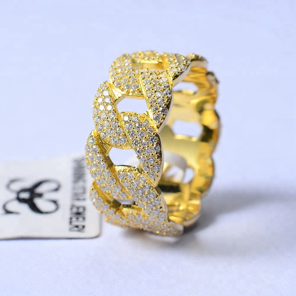 14k Gold Iced Out Mens iced out Diamond cuban link Ring for man