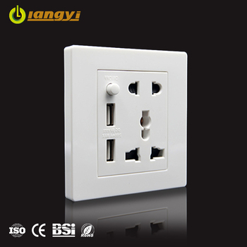 Wholesale UK standard Universal 250v double usb power socket electrical wall switch socket