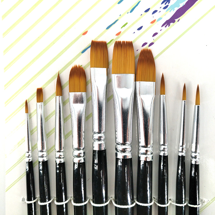 10 pcs Multi-Function Paint Brush with Bicolor Nylon Hair and Short Black Handle for Watercolor Painting