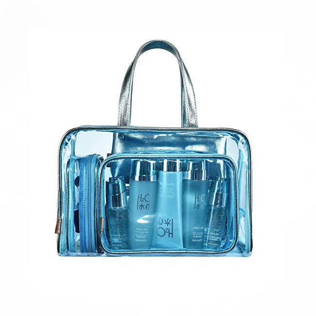 5 in 1 Clear Cosmetic Bags Organizer Carry on Transparent Storage Case PU Leather Travel Toiletry Bag PVC Makeup Pouch Blue