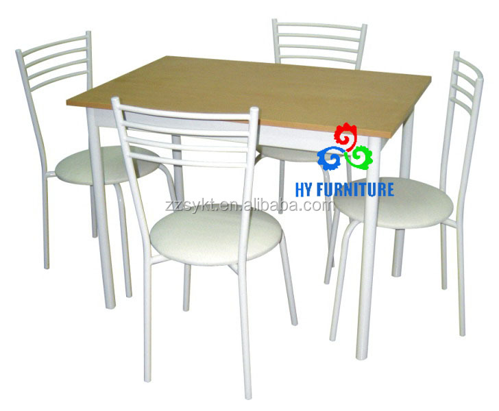 Formal metal dining room furniture MDF table and 4 round PVC chairs set