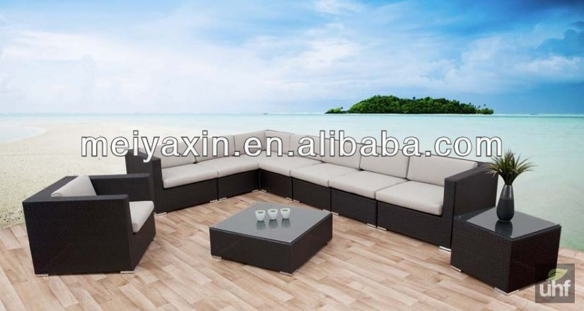 Garden furniture hotel patio rattan sofa outdoor semi circle furniture