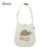 Clear white calico messenger canvas tote bag with inside pockets