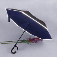 Promotion windproof customized with logo printing reverse umbrella Auto open reverse reflective umbrella