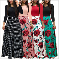 Ecoparty Spring Autumn Women Dress Female Fashion Long Sleeve Floral Print Long Maxi Dress Ladies Casual Ankle-Length Vestido