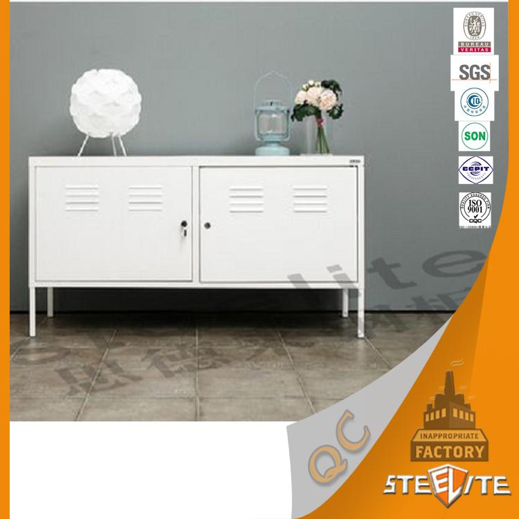 Vintage Slimline Living Room Furniture 2 Door Metal Industrial Locker TV  Stand PS Cabinet
