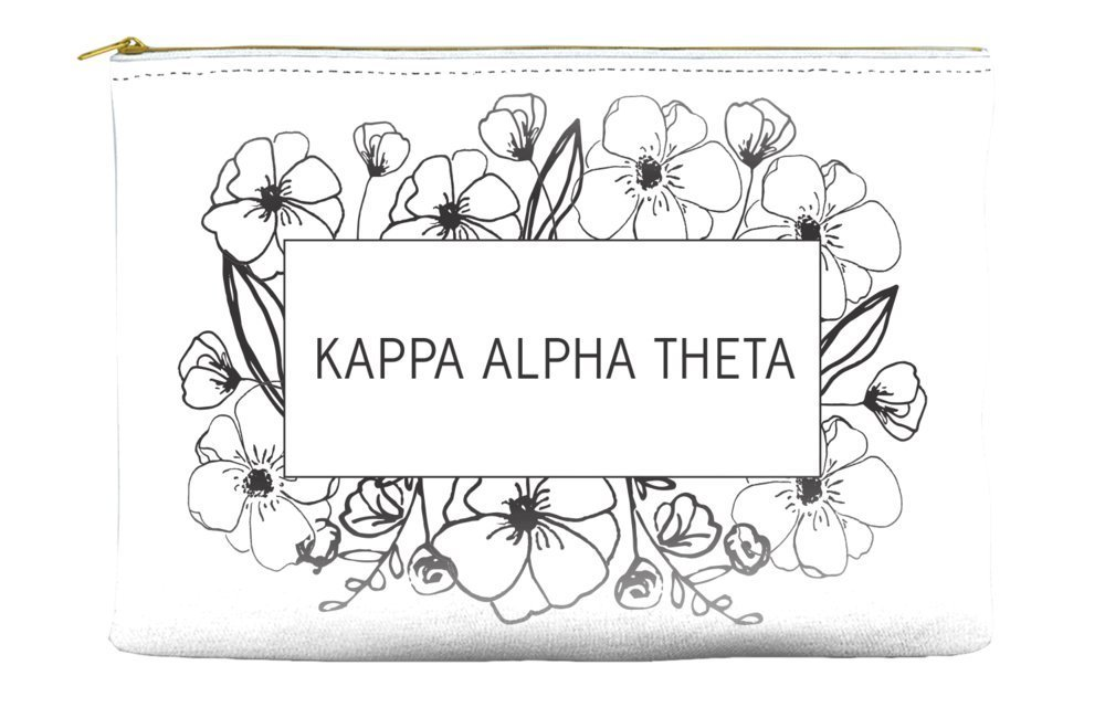 Kappa Alpha Theta Flower Box White Cosmetic Accessory Pouch Bag for Makeup Jewelry & other Essentials