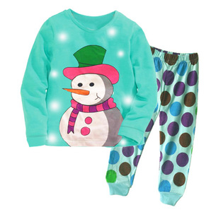Children Boutique Snow Man Printed Cotton Sleep Wear Clothing Sets Low Price