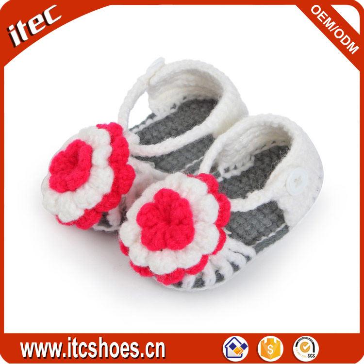 Wholesale Flower Knit Sandal Cute Hand Crochet Baby Shoes Patterns