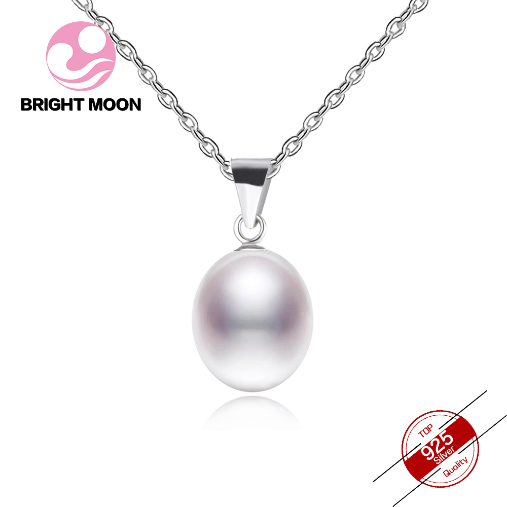 Bright Moon Big Sale Pearl Necklace 6-7mm Drop Shape Natural Freshwater Pearl Pendant 925 Sterling Silver Jewelry For Women Gift