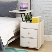 Bedside Table White Lamp End Table Nightstand Cabinet Modern Storage Unit(1 set)