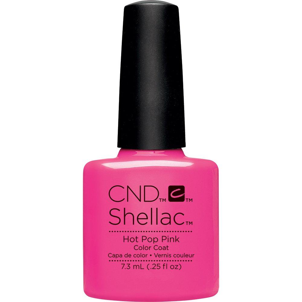 CND shellac hot pop pink color coat