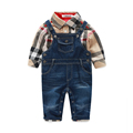 Cute Baby Boy Clothes Sets Toddler Plaid Shirt Top Bib Pants Overall Costume Baby Boys Clothes