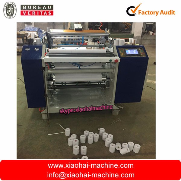 Coreless precision thermal paper roll slitting converting machine