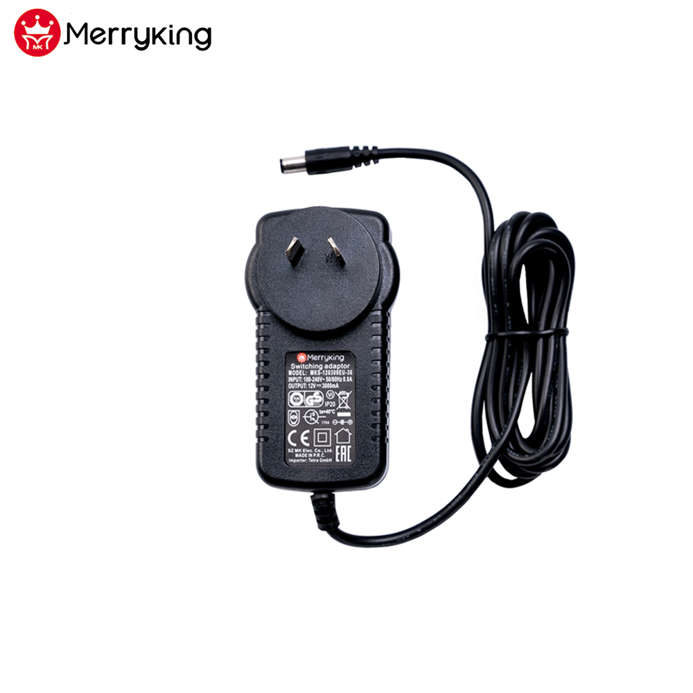 Merryking 36W SAA approved AU plug 12V 3A AC DC adapter for neon light