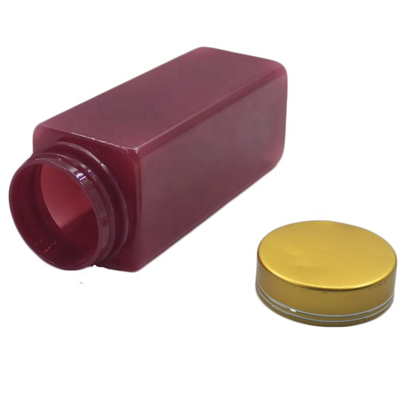 250ml square Red PET pill capsule health care medicine plastic bottle with aluminium lid