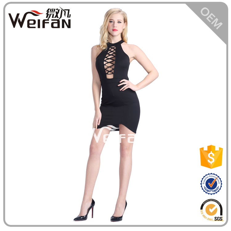 2016 China manufacture chinese style dress black elegant dress caged cut-out bodycon dress
