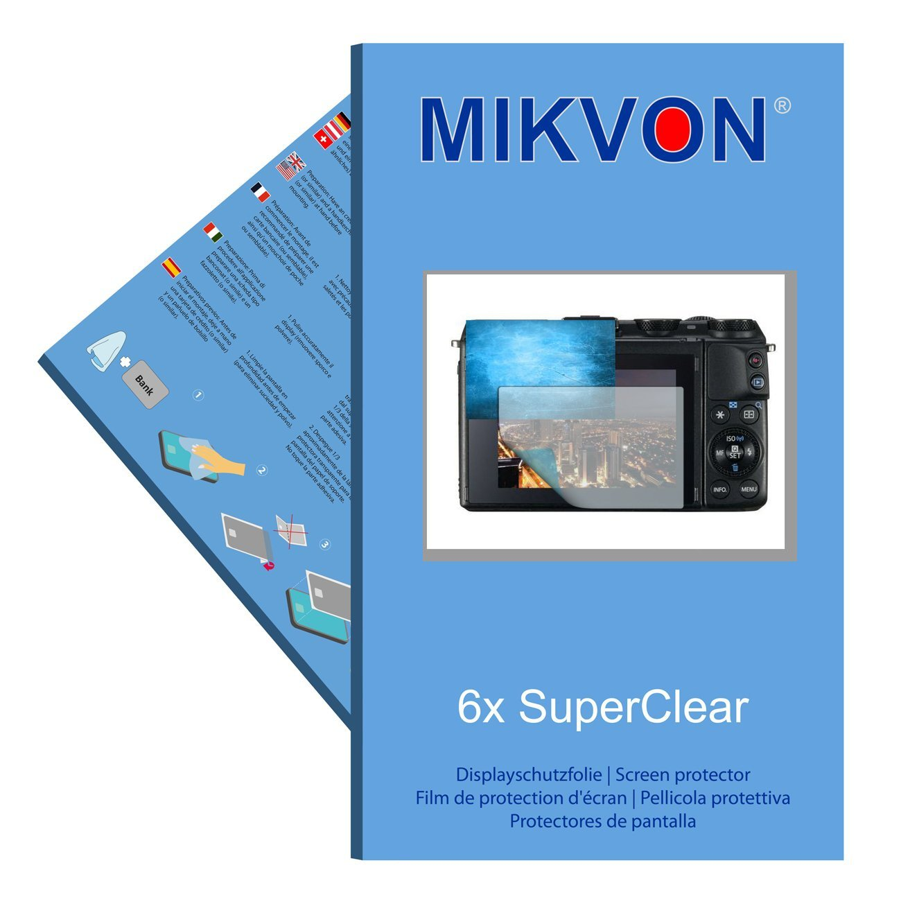 6x Mikvon films screen protector SuperClear for Canon EOS M3 - transparent - Made in Germany
