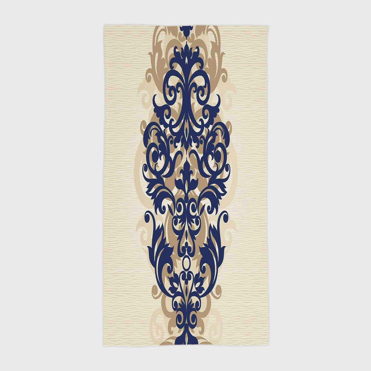 One Side Printing Hotel SPA Beach Pool Bath Hand Towel,Kitchen Decor Classical Baroque Vintage Design Print Victorian Style Brush Kitchenware Oriental Navy Golden Cream,for Kids Teens and Adults