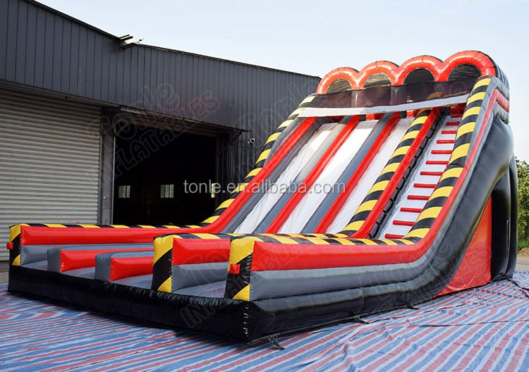 Customized triple lane the edge inflatable slide/three Lane Dry  Slide for sale