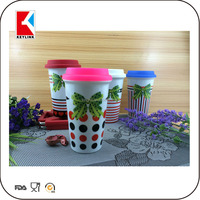 hot sale full transfer paper custom logo printed with silicon lid ceramic double wall travel mug