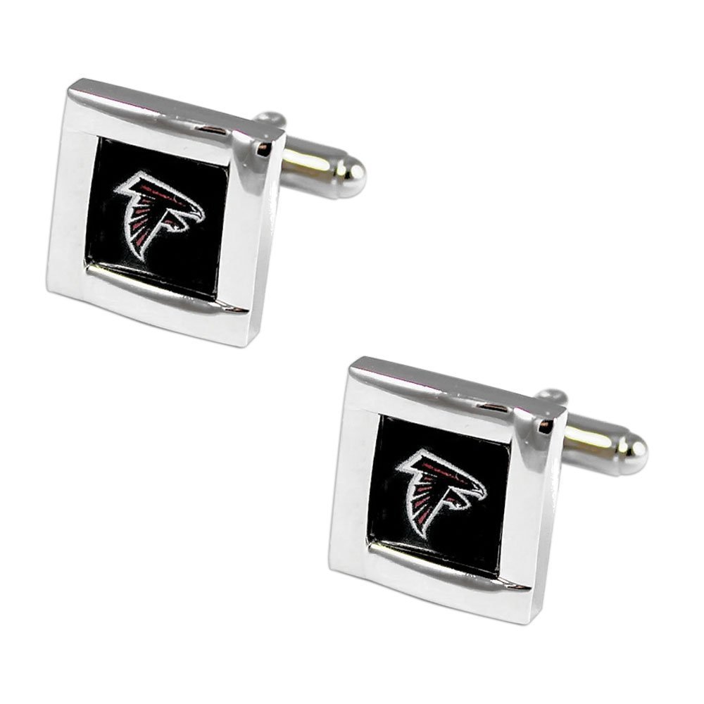 NFL Atlanta Falcons Womens NFL Sports Team Logo square Cufflinks with Gift Box Set, Silver, One Size