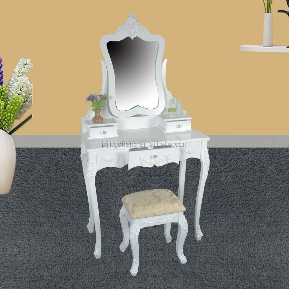 Slaapkamer Meubels Wit.Meisje Houten Dressing Mirrored Wit Vanity Visagist Tafel Spiegel