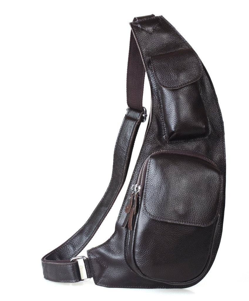30146f4e24fa Get Quotations · Tiding Genuine Leather Sling Backpack Cross Body Biking  Backpack