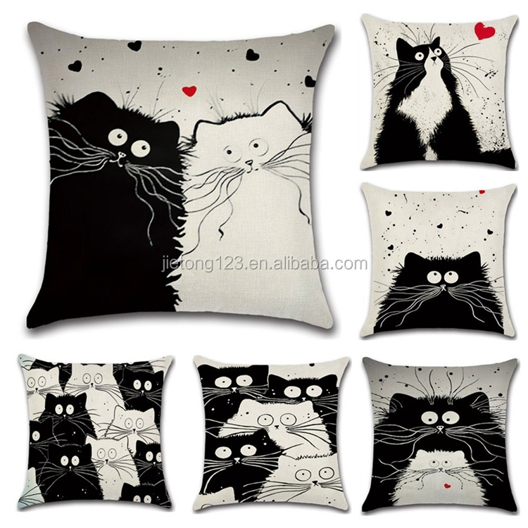 Home Decor Sofa Cartoon Kat Chinchilla Patroon Kussenhoes 45X45 cm