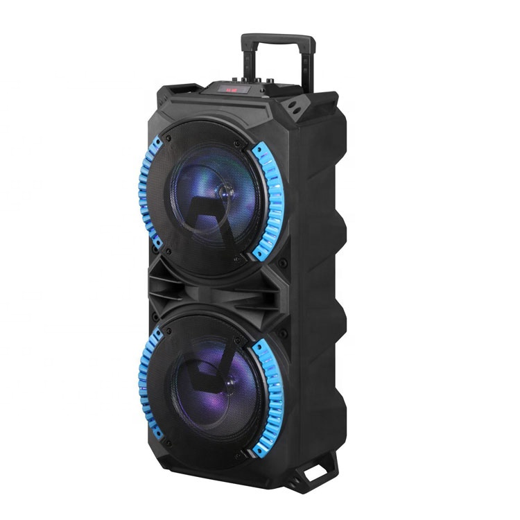 Hot selling well Double 8 inch Portable Trolly <strong>Speaker</strong> with light 20W plastic <strong>speaker</strong>