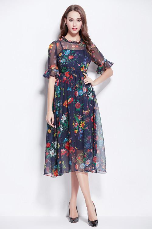 Mid Calf Chiffon Dresses