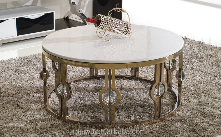 Modern Gold Steel Color Round Nesting Coffee Table With Marble Top