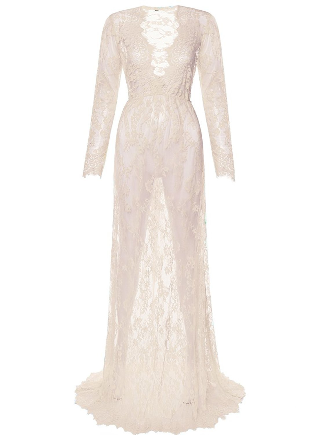 84922f9599b Manufacturers wholesale white sexy deep V long sleeved lace pregnancy women  photo shoot gown transparent maternity