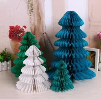 wholesale honeycomb paper hanging christmas tree christmas decorations paper craft - Hanging Christmas Decorations