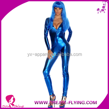 women blue latex lingerie red sexy catsuit
