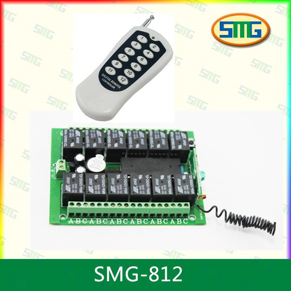 12 channel wireless switch power/relay/outdoor/remote control light Switch,digital remote controller 303/315/335/433/868MHz