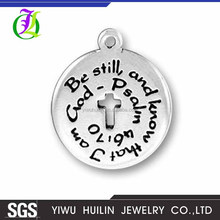 CN185092 Yiwu Huilin Jewelry Round Cross Custom Metal Logo Antique Silver letter Be Still,And Know That I Am God-Psalm pendants