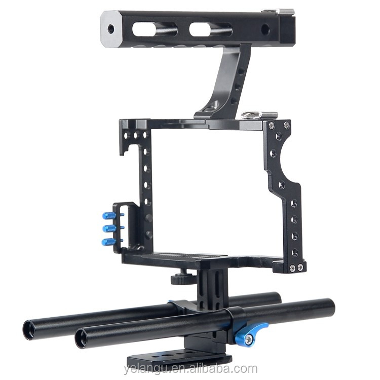 YELANGU Ergonomic Top Handgrip DSLR Rod Rig Camera Video Cage For GH4,A7S