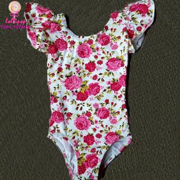 930650321 Kids Training Dancewear Cotton Floral Flutter Sleeve Decolletage ...