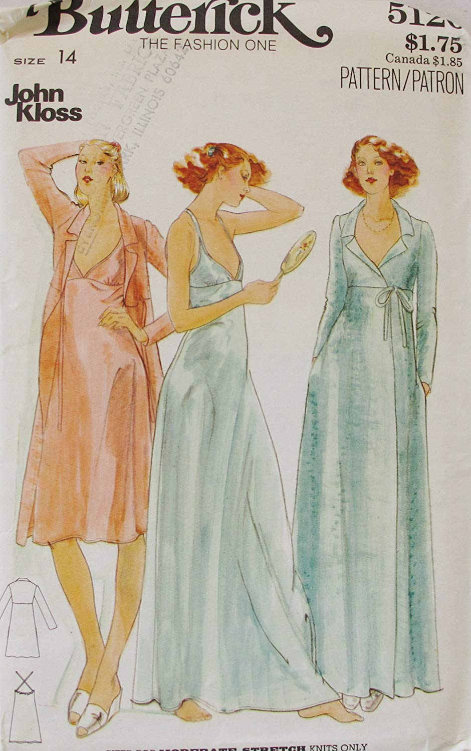 8d46df1c04 Get Quotations · BUTTERICK 5120 Misses  Nightgown   Robe Sz 14 SEWING  PATTERN