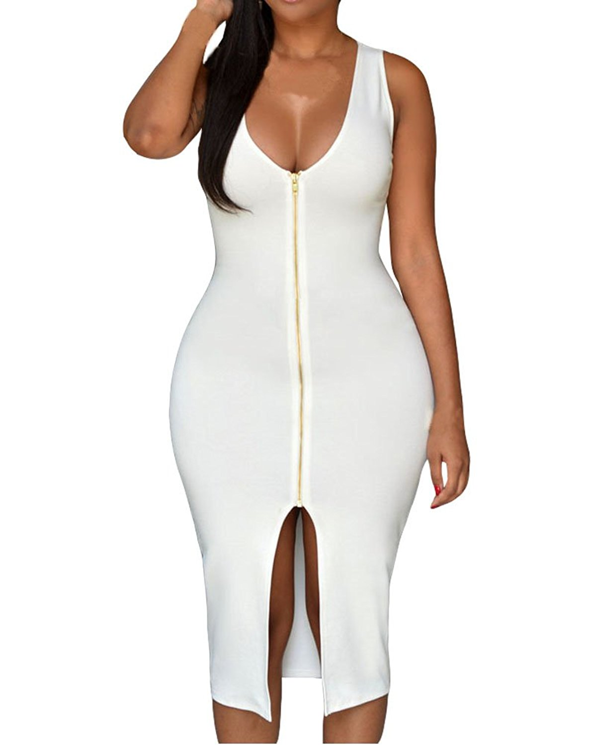 55e014dcf1 Get Quotations · Womens Sexy Bodycon Gold Zipper Front Plunge Midi Dress