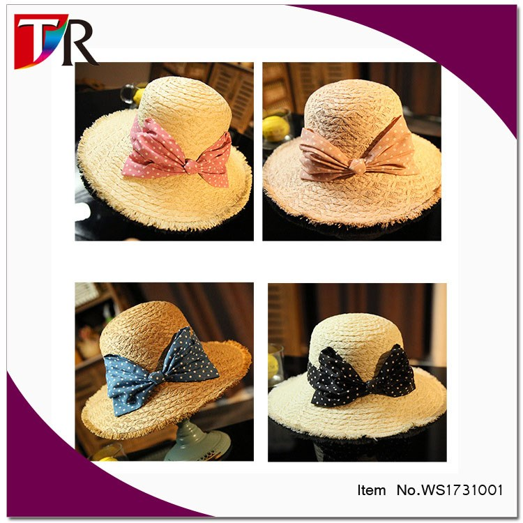 ladies fake raffia floppy straw hat frayed fringe adjustable straw hat