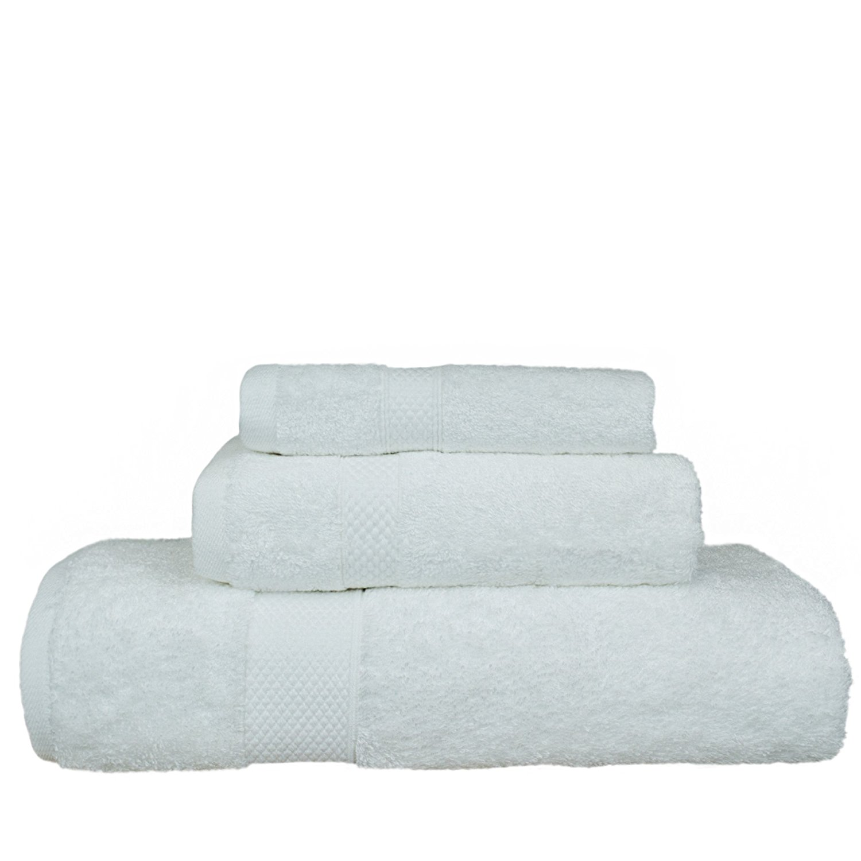 "Luxury Hotel & Spa Towel Turkish Cotton and Bamboo Rayon Towel Bundle 3 Piece Towel Set, White, 1 x Bath Towel 27""x54"", 1 x Hand Towel 16""x30"", 1 x Washcloth 13""x13"""