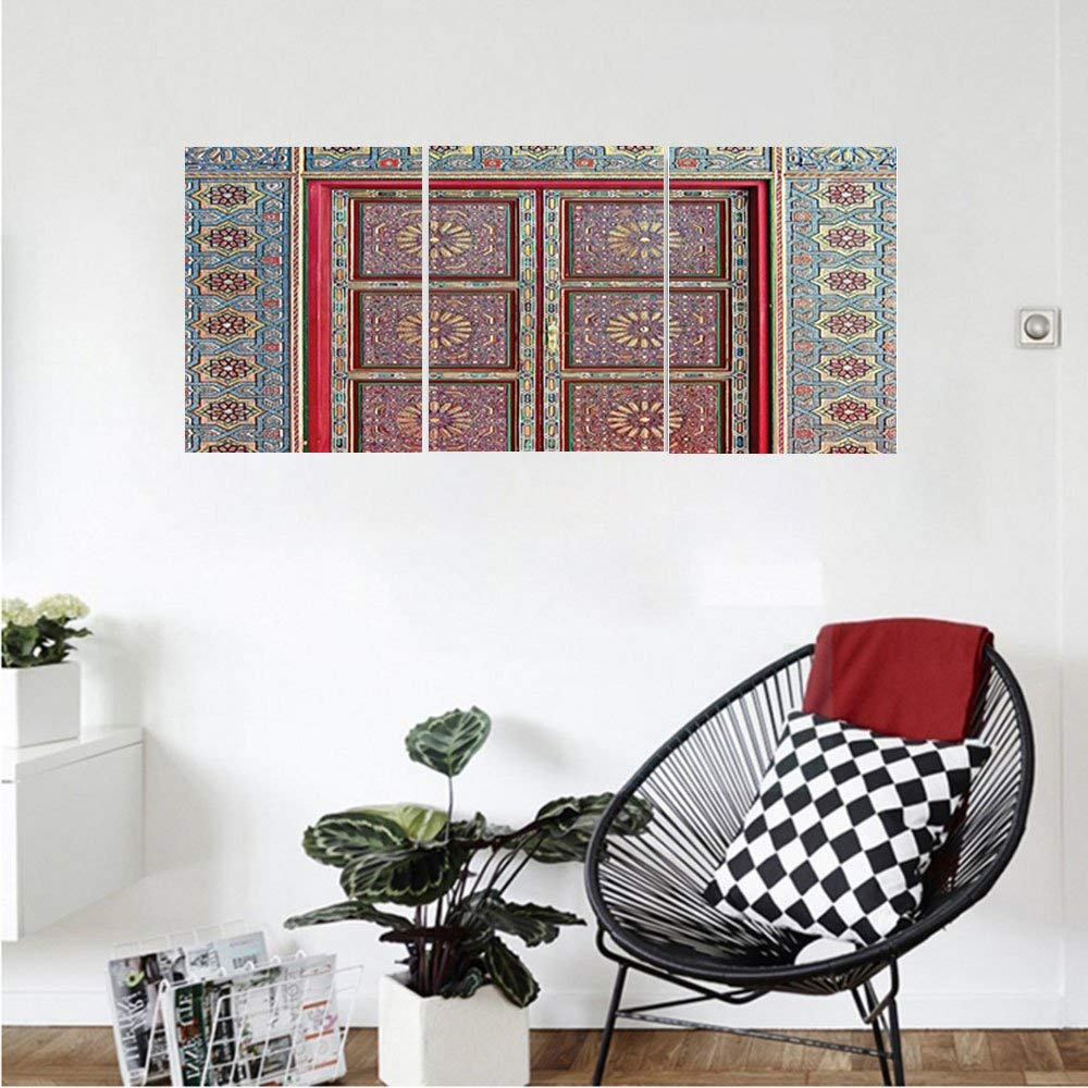 Liguo88 Custom canvas Moroccan Decor Collection A Magnificent Moroccan Traditional Ancient Door Gate Brass Historic Handicraft Bedroom Living Room Wall Hanging