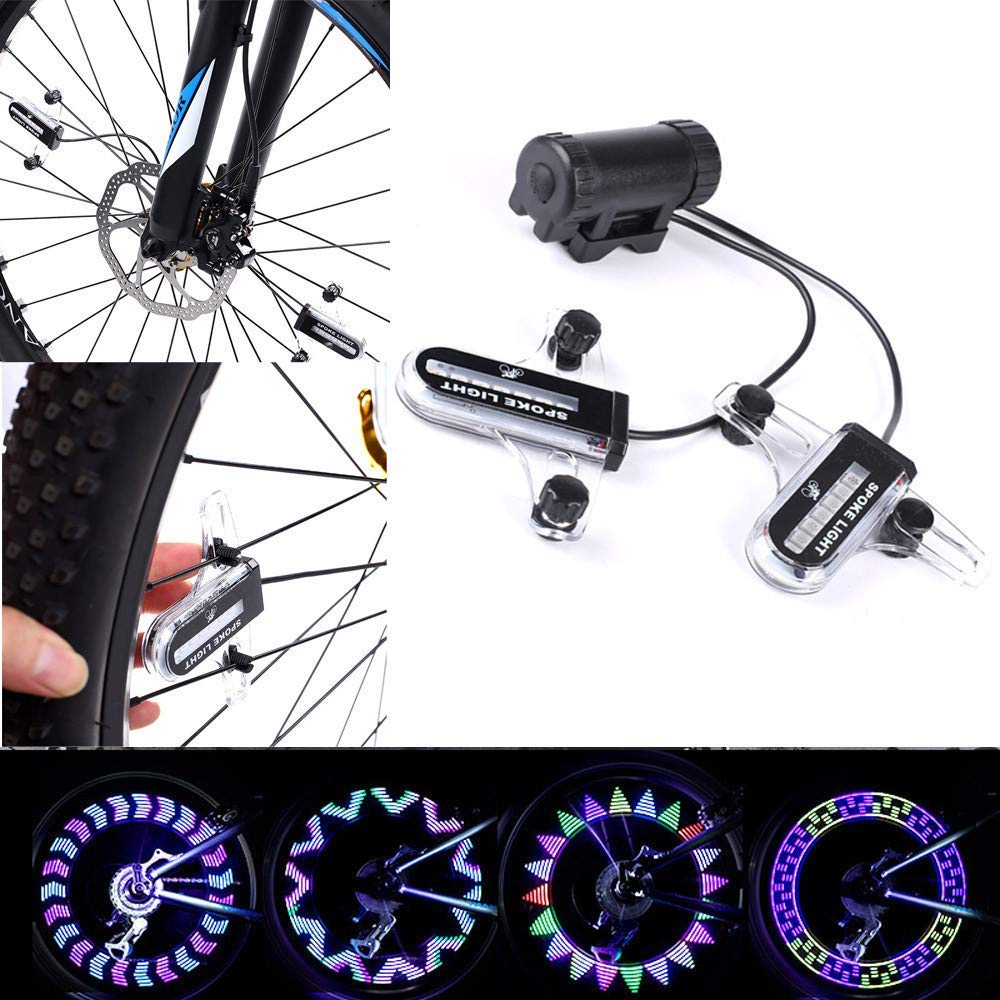 Glumes Bike Wheel Lights, LED Waterproof Bicycle Spoke Light 14 LED 30 Changes Modes Bicycle Rim Tire Lights for Mountain Bike/Road Bikes/BMX Bike/Hybrid Bike/Folding Bike Good Gifts (Multicolor)