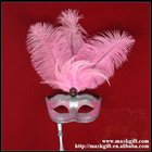 A009S Wholesale pink and silver feathered Carnival party mask with handle